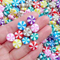Peppermint Candy Polymer Clay Cabochons | Kawaii Christmas Candy Cabochon | Sweets Deco | Decoden Supplies (10 pcs by Random / 10mm / Thick Type)