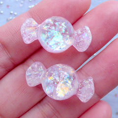 Iridescent Candy Resin Cabochons | Kawaii Sweet Deco | Phone Case Decoden | Fake Taffy Candies (2pcs / Light Pink / 13mm x 24mm / Flatback)