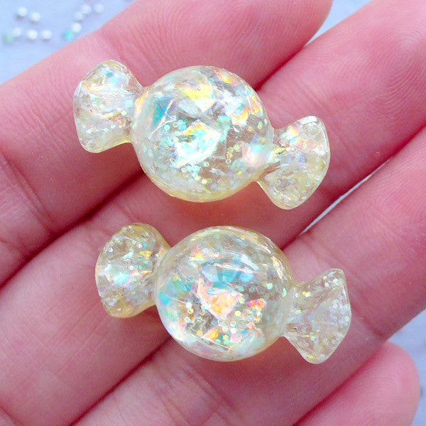 Glittery Candy Cabochons with Iridescent Flakes | Kawaii Phone Case | Decoden Resin Pieces | Faux Taffy Candies (2pcs / Yellow / 13mm x 24mm / Flatback)
