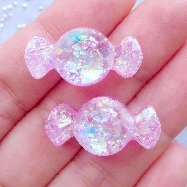 Kawaii Candy Cabochons | Glittery Cabochon with Iridescent Flakes | Resin Decoden Pieces | Kawaii Jewelry Making (2pcs / Dark Pink / 13mm x 24mm / Flatback)