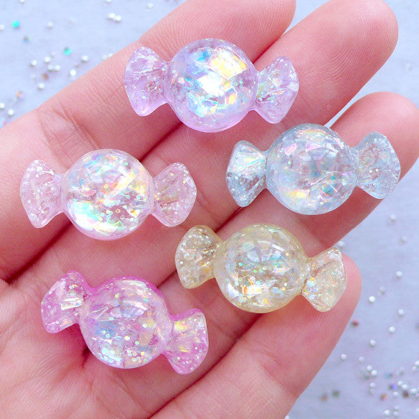 Decoden Candy Cabochons | Resin Cabochon with Glittery Iridescent Flakes | Kawaii Jewellery Making | Sweet Deco Phone Case (5pcs / Assorted Color Mix / 13mm x 24mm / Flatback)