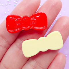 DEFECT Bow Sugar Cookie Cabochons | Kawaii Decoden Cabochon | Resin Food Embellishment | Sweet Deco (2pcs / 28mm x 12mm / Flatback)