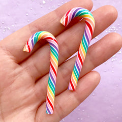 Christmas Rainbow Candy Cane Cabochons | Polymer Clay Food | Fake Candies | Sweet Deco | Kawaii Decoden Supplies (2 pcs / 3D / 20mm x 50mm)
