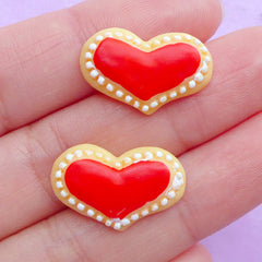 Miniature Sugar Cookie Cabochons | Dollhouse Heart Cookies | Fake Food Cabochon | Kawaii Decoden | Sweet Deco (2pcs / 20mm x 13mm / Flat Back)