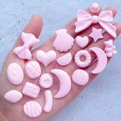 Kawaii Pastel Cabochon Mix | Assorted Decoden Cabochons | Candy Heart Moon Ribbon Bow Resin Pieces (20pcs / Pink / Flatback)