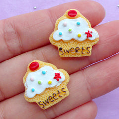 Dollhouse Sugar Cookie Cabochons | Miniature Cupcake Cookies | Fake Sweet Cabochon | Decoden Supplies | Kawaii Sweets Deco (2pcs / 20mm x 20mm / Flat Back)