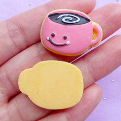 Kawaii Sugar Cookie Cabochons in Coffee Cup Shape | Miniature Cookies | Fake Dessert Cabochon | Decoden Phone Case | Sweet Deco Supplies (2pcs / 28mm x 21mm / Flat Back)
