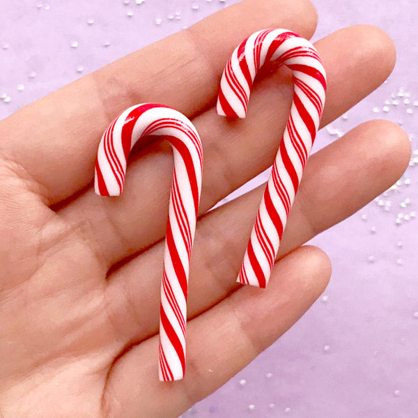 Christmas Peppermint Cabochons | Polymer Clay Candy Cane | Faux Candies | Kawaii Sweets Deco | Decoden Phone Case (2 pcs / Red / 3D / 20mm x 50mm)