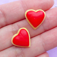 Heart Sugar Cookie Cabochons | Dollhouse Cookies | Faux Food Cabochon | Kawaii Phone Case | Sweet Decoden (2pcs / 15mm x 14mm / Flat Back)