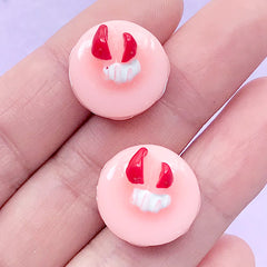 French Macaron Cabochons / Patisserie Cabochon (2pcs / 17mm x 12mm / Strawberry Pink) Doll Food Dollhouse Dessert Miniature Sweets FCAB114