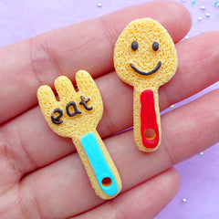 Fork and Spoon Sugar Cookie Cabochons | Doll House Cookies | Faux Sweet Cabochon | Phone Case Decoden | Kawaii Supplies (2pcs / Flat Back)