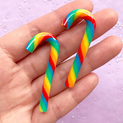 Rainbow Candy Cane Cabochons | Faux Peppermint Candy Stick | Fimo Food | Kawaii Christmas Decoration (2 pcs / 3D / 20mm x 50mm)