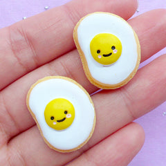 Sugar Cookie Cabochons in Sunny Side Up Egg Shape | Fake Cookies | Decoden Cabochon | Cell Phone Deco | Kawaii Craft Supplies (2pcs / 19mm x 24mm / Flat Back)