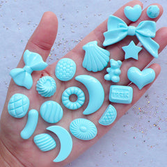 Pastel Kei Cabochon Mix | Candy Heart Moon Ribbon Bow Cabochons | Assorted Kawaii Cabochons | Decoden Supplies (20pcs / Blue / Flatback)