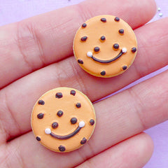 Happy Face Sugar Cookie Cabochons | Kawaii Resin Cabochon | Faux Food Jewellery Making | Decoden Supplies (2pcs / 18mm / Flat Back)