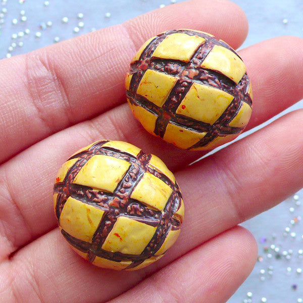 DEFECT Melon Bread Cabochon Melonpan Cross Bun Bread (2pcs / 23mm x 13mm / 3D) Dollhouse Bakery Miniature Food Kawaii Decoden Magnet Making FCAB155