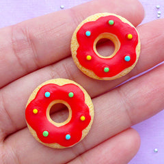 Donut Shaped Sugar Cookie Cabochons | Kawaii Doughnut Cabochon | Mini Food Jewelry DIY | Sweet Decoden Pieces (2pcs / 21mm / Flat Back)