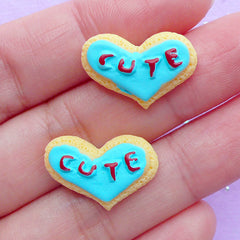 Cute Heart Shaped Sugar Cookie Cabochons | Miniature Sweet Cabochon | Kawaii Food Jewellery DIY | Cell Phone Decoden (2pcs / 20mm x 13mm / Flat Back)