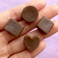 Fake Chocolate Assortment | Faux Food Cabochons | Kawaii Sweet Deco Supplies | Decoden Phone Case (4pcs / 15mm to 19mm)