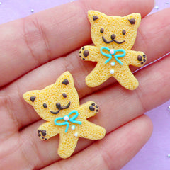 Kawaii Bear Sugar Cookie Cabochons | Mini Animal Biscuit Cabochon | Fake Sweet Jewelry Supplies | Sweets Decoden Piece (2pcs / 21mm x 24mm / Flat Back)