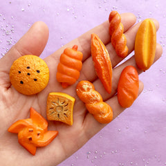 Dollhouse Bread Assortment | Miniature Food Decoden Cabochons | Faux Sweets Jewelry DIY | Kawaii Craft Supplies (9pcs / 20mm to 44mm)