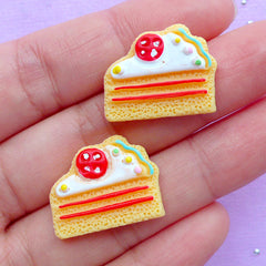 Cake Sugar Cookie Cabochons | Dollhouse Sweet Cabochon | Doll Food Jewellery Supplies | Kawaii Decoden Supplies (2pcs / 21mm x 17mm / Flat Back)
