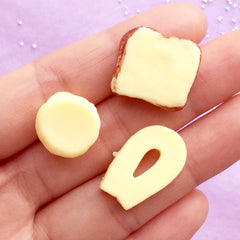 Dollhouse Miniature Bread Cabochons | Mini Food Craft Supplies | Fake Sweet Decoden | Kawaii Phone Case Deco (3pcs / 15mm to 21mm)