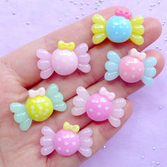 Assorted Candy Cabochon | Kawaii Resin Cabochons | Decoden Phone Case | Sweet Deco (6pcs / Colorful Mix / 24mm x 16mm / Flat Back)