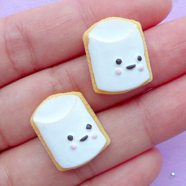 Milk Sugar Cookie Cabochons | Doll Food Cabochon | Miniature Sweet Jewelry Making | Kawaii Craft Supplies (2pcs / 15mm x 19mm / Flat Back)