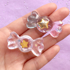 Candy Resin Cabochons with Star | Kawaii Phone Case Sweet Deco | Decoden Supplies | Cute Embellishments (3pcs by Random / 21mm x 43mm)