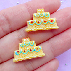 Wedding Cake Sugar Cookie Cabochons | Birthday Cake Cabochon | Miniature Food Jewellery DIY | Kawaii Supplies (2pcs / 22mm x 14mm / Flat Back)