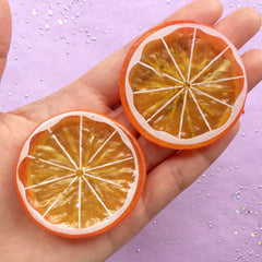 Large Orange Slice Cabochons | Faux Fruit Cabochon | Kawaii Phone Case Deco | Decoden Supplies (2pcs / 51mm / 2 Sided)