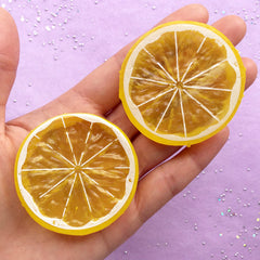 Big Lemon Slice Cabochons | Citron Cabochon | Faux Food Embellishments | Fruit Decoden Pieces (2pcs / 51mm / 2 Sided)