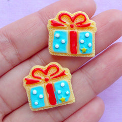 Gift Box Sugar Cookie Cabochons | Present Cabochon | Kawaii Dollhouse Food Jewelry DIY | Decoden Supplies (2pcs / 19mm x 18mm / Flat Back)