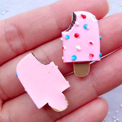 Miniature Popsicle Cabochons / Strawberry Ice Cream Bar (2pcs / 15mm x 25mm / Flat Back / Pink) Cute Dollhouse Sweets Whimsical Deco FCAB311