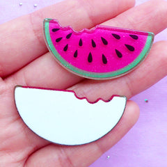 Bitten Watermelon Cabochons | Kawaii Decoden Supplies | Acrylic Fruit Cabochon with Glitter | Cute Embellishments (2pcs / Flat Back)