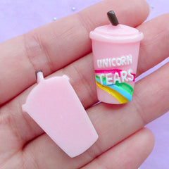 Unicorn Tear Drink Cabochons | Kawaii Phone Case Decoden | Cute Jewelry Making | Resin Cabochon Supplies (2pcs / Light Pink / 17mm x 28mm / Flat Back)