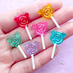 Dollhouse Bear Shaped Lollipop Cabochon | Miniature Candy Pop | Kawaii Doll Food Craft (3 pcs by Random / 14mm x 25mm)