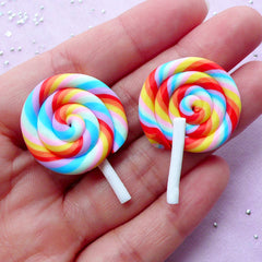 Rainbow Lollipop Cabochon | Polymer Clay Candy | Fairy Kei Jewellery Making (2 pcs / 25mm x 37mm)