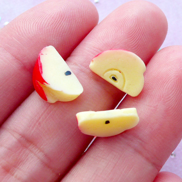 Dollhouse Apple Slice Cabochons | Miniature Resin Fruit | Snow White Jewelry (3pcs / 6mm x 11mm)