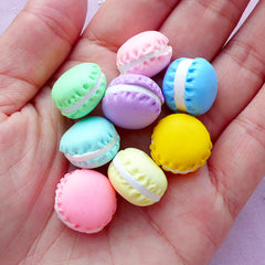 Miniature Sweets Cabochons | Assorted Polymer Clay Macaron | Decoden Phone Case Supplies (8 pcs / 15mm x 11mm)