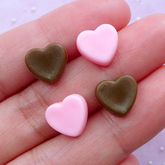 Miniature Heart Chocolate Decoden Cabochons | Sweets Deco Supplies (Pink & Brown / 4 pcs / 10mm x 9mm)