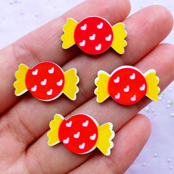 Acrylic Cabochon Supplies | Candy Cabochons | Kawaii Hair Bow Center | Decoden Phone Case (4 pcs / 13mm x 21mm)