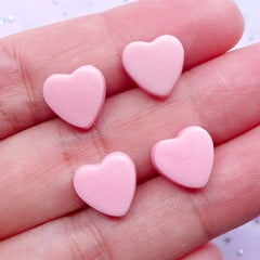 Kawaii Heart Chocolate Cabochons | Fake Toppings | Decoden Supplies | Mini Sweets Deco (Pink Strawberry / 4 pcs / 10mm x 10mm)