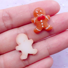 Mini Gingerbread Man Cabochons | Fake Sweets Toppings | Christmas Decoden | Miniature Sundae Parfait Making (2 pcs / 14mm x 18mm)