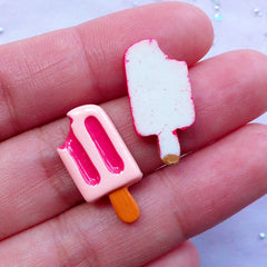 Dollhouse Popsicle Cabochons | Kawaii Cabochons | Decoden Phone Case Supplies (Pink & Red / 2pcs / 11mm x 21mm)