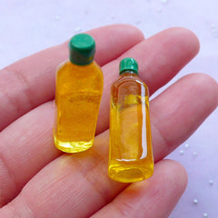 Dollhouse Olive Oil Bottle Cabochons | Miniature Food Supplies | Doll House Crafts (2 pcs / 10mm x 32mm)