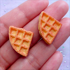 Doll Food Supplies | Dollhouse Waffle Cabochons | Miniature Food Cabochon | Sweets Deco (2 pcs / 17mm x 17mm)