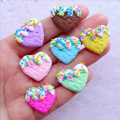 Heart Biscuit Polymer Clay Cabochon with Sprinkles | Kawaii Sweets Cabochon| Sweets Deco Phone Case (7 pcs / Assorted Colors / 22mm x 20mm)
