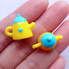 Kawaii Tea Kettle Charms in 3D | Cute Miniature Tableware | Decoden Cabochons | Whimsical Jewelry Making (2pcs / Blue & Yellow / 19mm x 15mm)